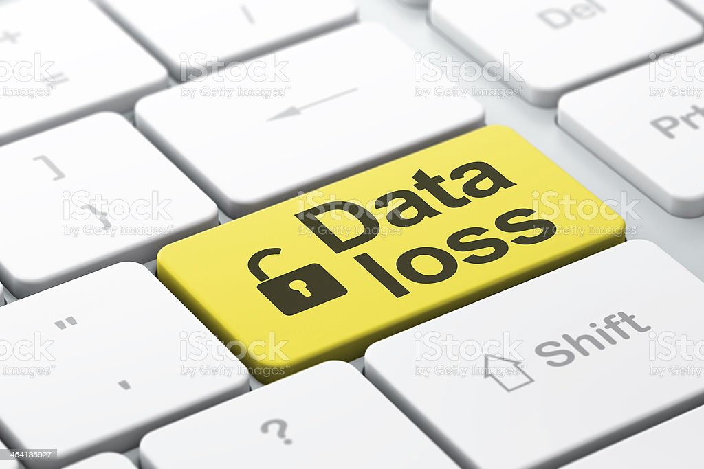 Information concept: Opened Padlock and Data Loss on computer stock photo