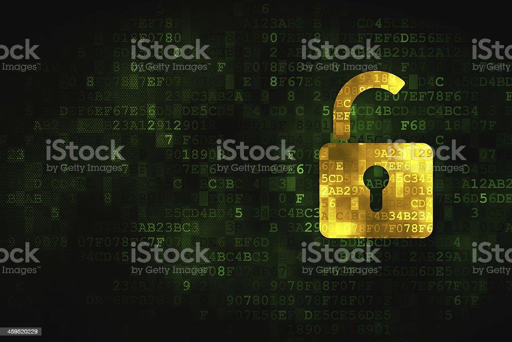 Information concept: Opened Padlock on digital background stock photo
