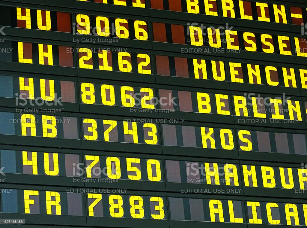 Information display in an airport stock photo