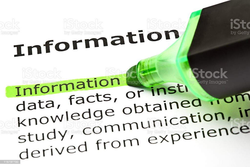 'Information' highlighted in green royalty-free stock photo