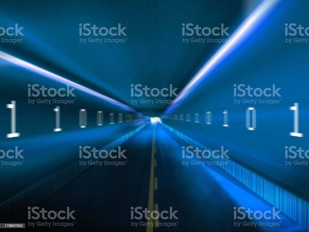 Information highway with binary code on blue royalty-free stock photo