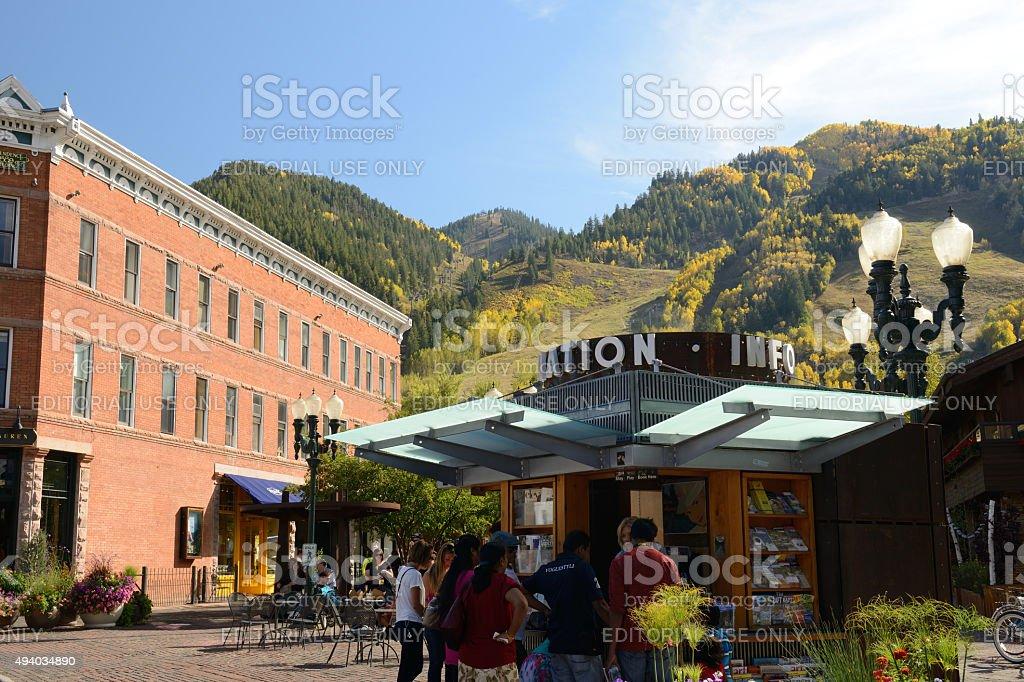 Information Hut in Downtown Aspen Colorado stock photo