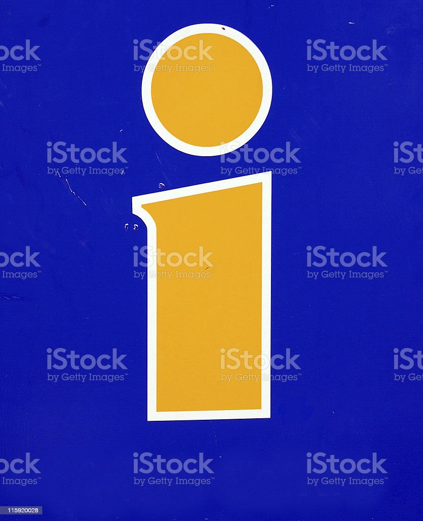 information logo in yellow on blue background royalty-free stock photo