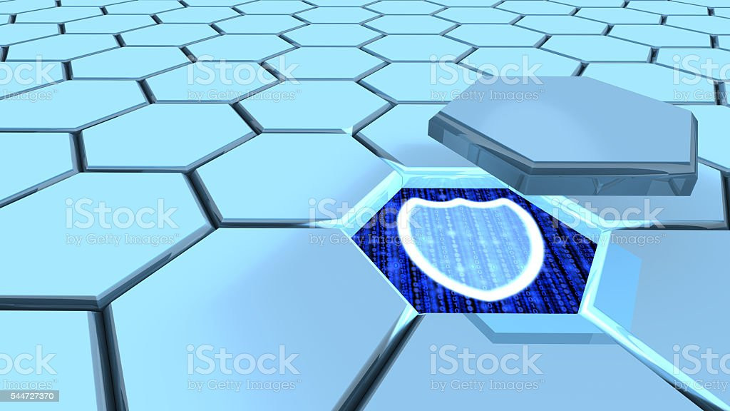 Information security hexagon grid stock photo