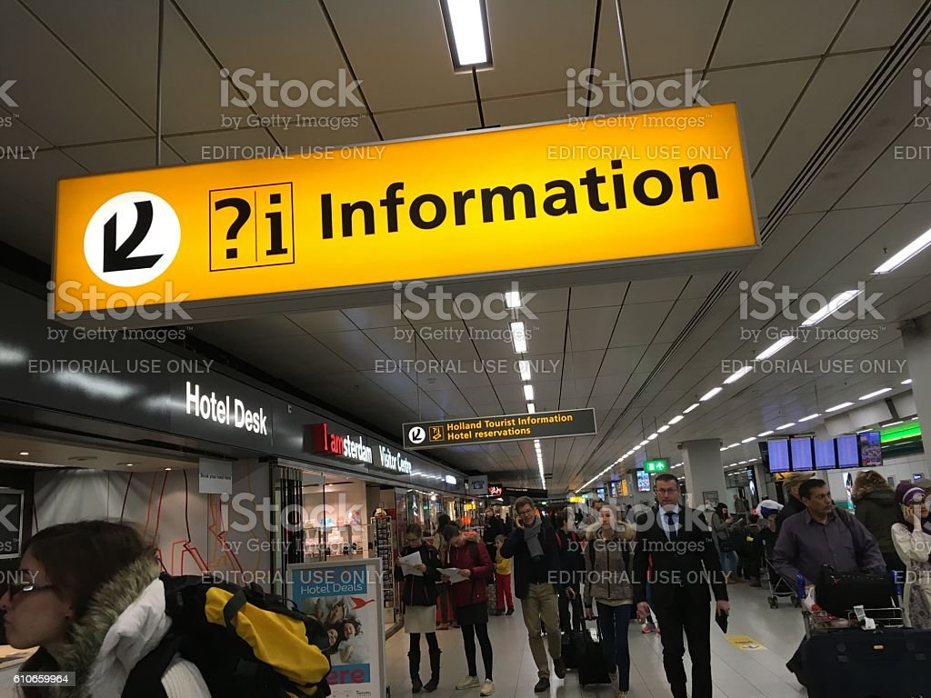Information sign Amsterdam Airport Schiphol, Netherlands stock photo