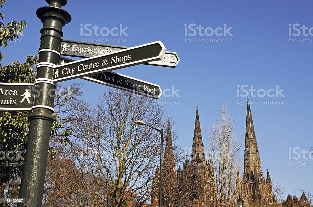 Information sign and Cathedral, Lichfield. stock photo
