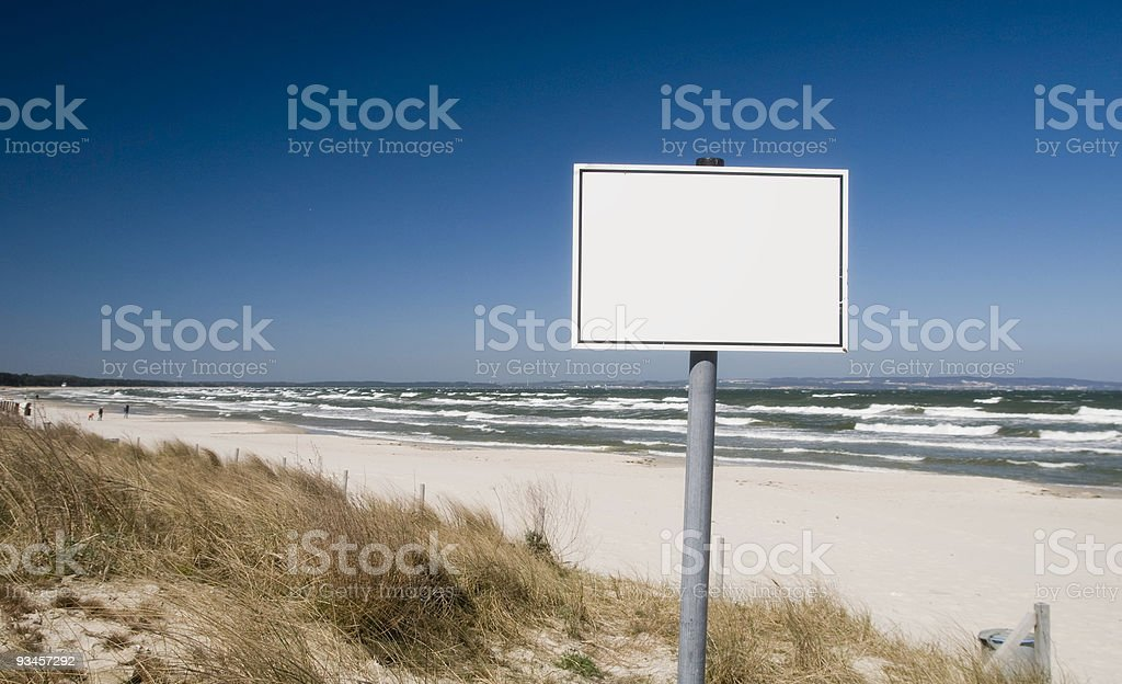Information sign at beach stock photo