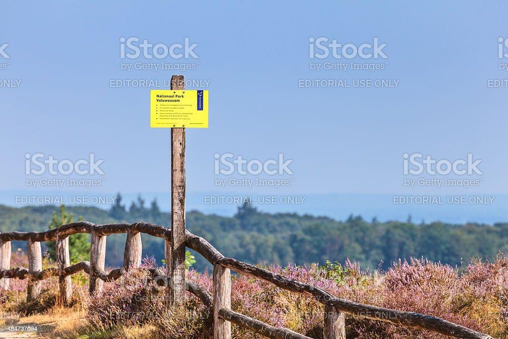 Information sign at national park Veluwezoom stock photo