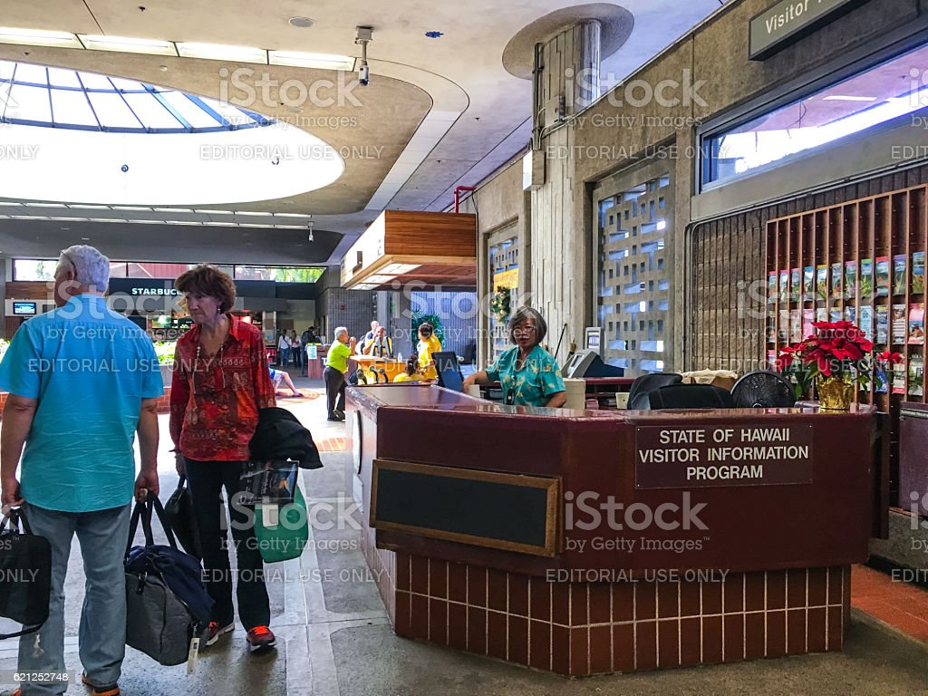 Information stand for tourists in Kahului airport, Maui, Hawaii stock photo