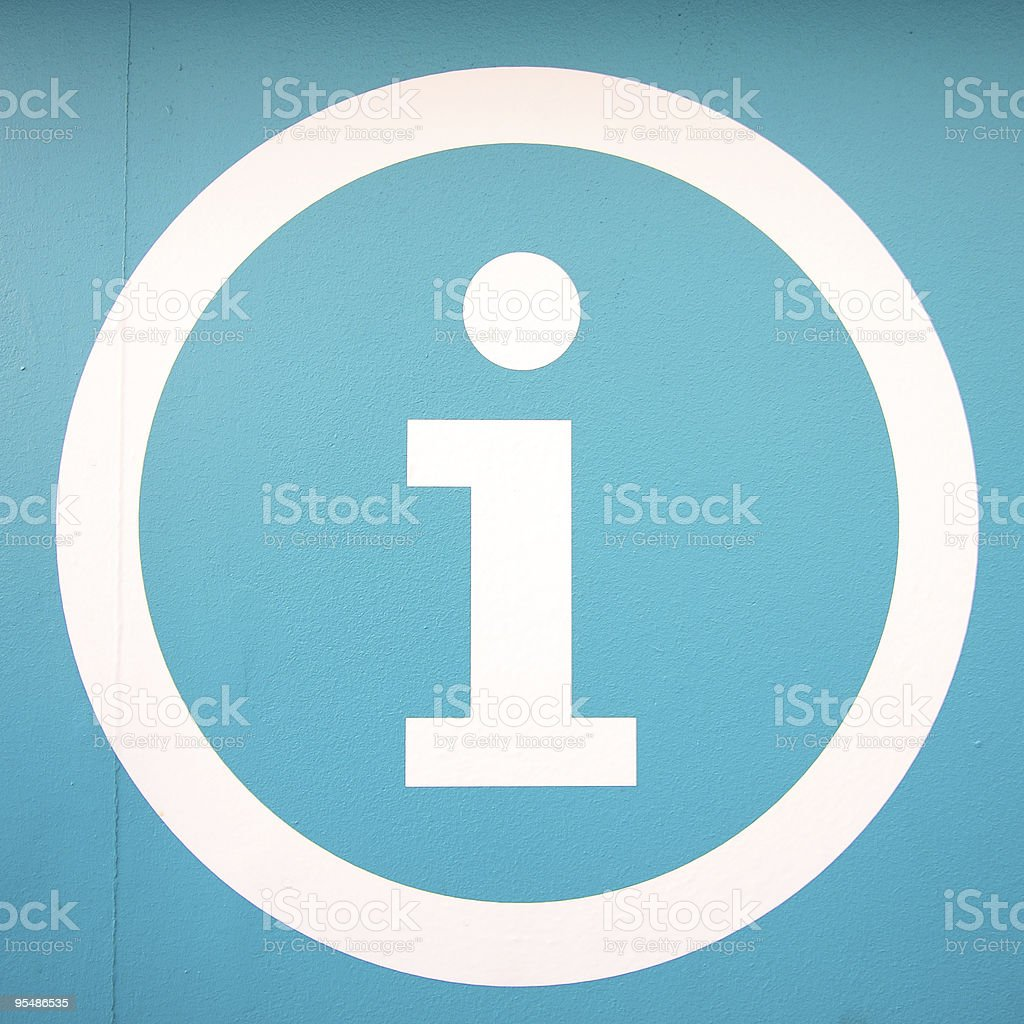 Information symbol shown in a white circle stock photo