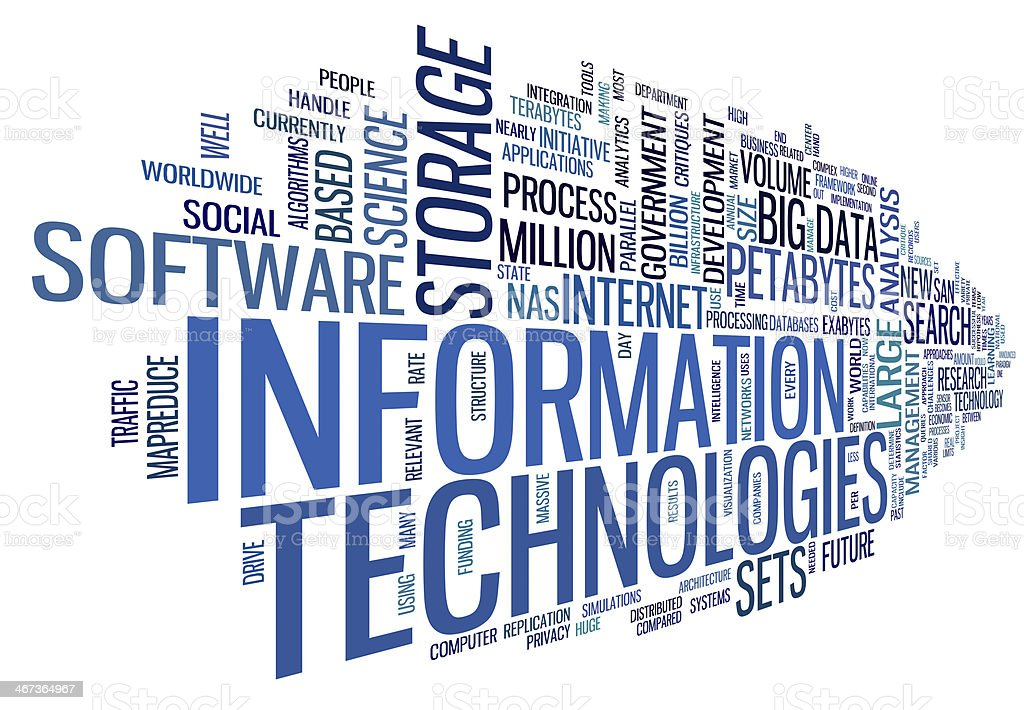 Information technology in tag cloud stock photo