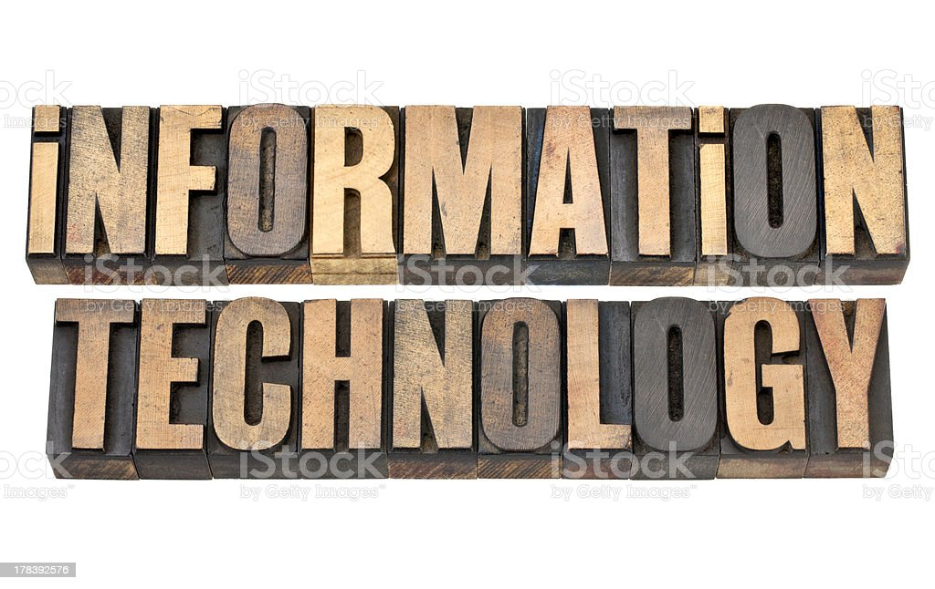 information technology in wood type royalty-free stock photo