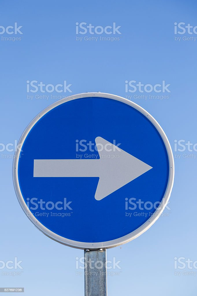 Information traffic sign round blue and white stock photo