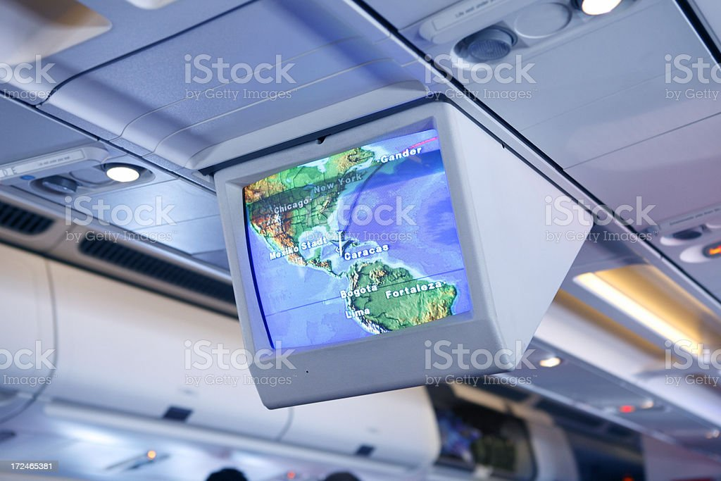 Informational monitor on board of airplane stock photo