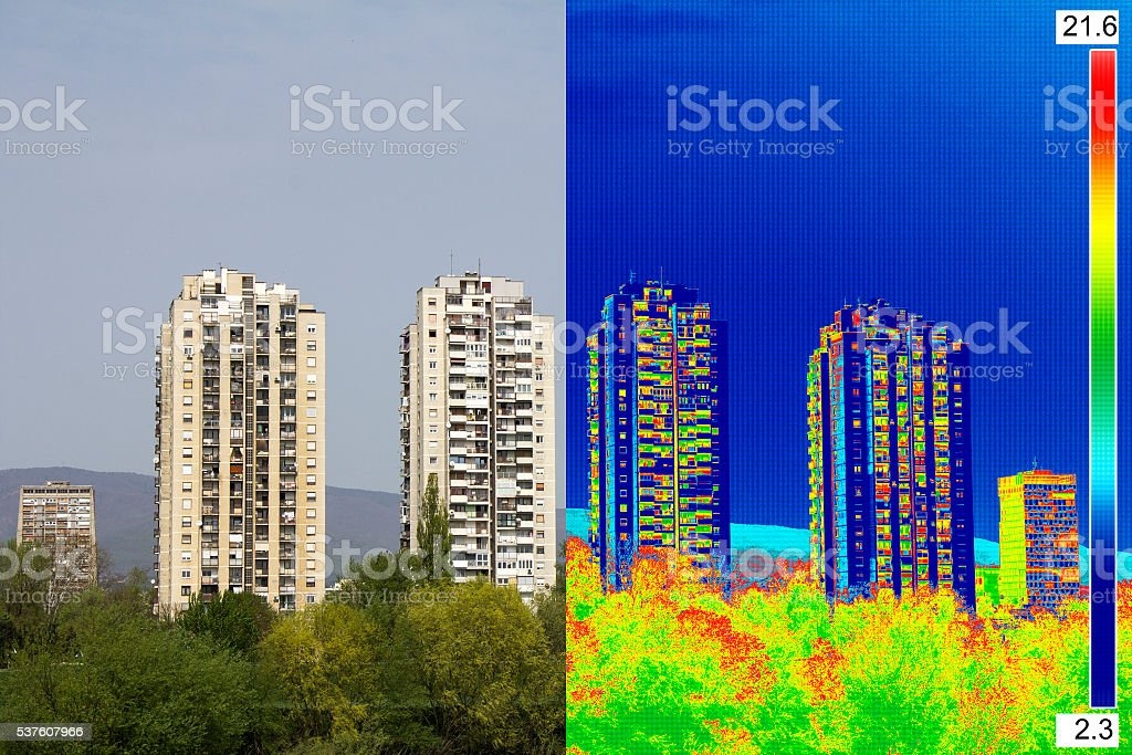 Infrared and real image on Residential building stock photo