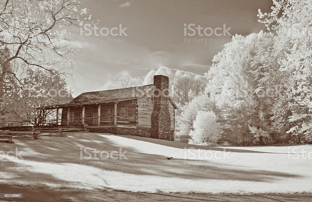 Infrared Cades Cove Cabin royalty-free stock photo