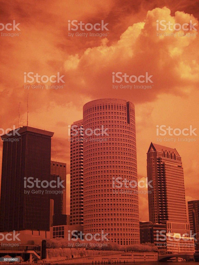 Infrared Downtown Tampa stock photo