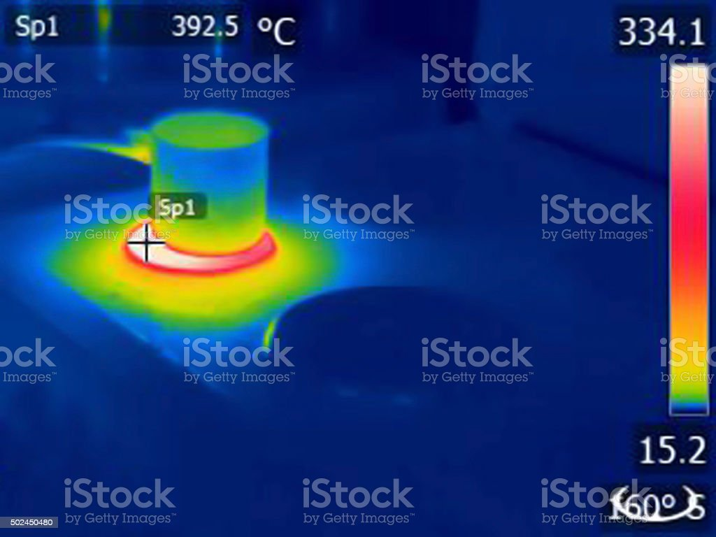 Infrared image of coffee pot on kitchen range stock photo
