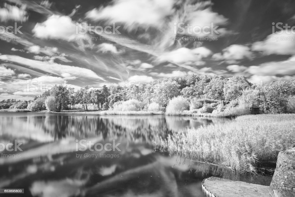 Infrared Image Of Frensham Little Pond In Surrey stock photo