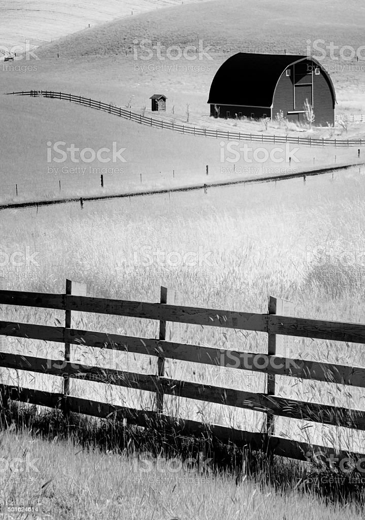 Infrared Palouse Barn and Fence stock photo