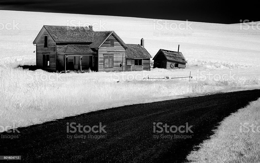 Infrared Palouse Old House and Road stock photo