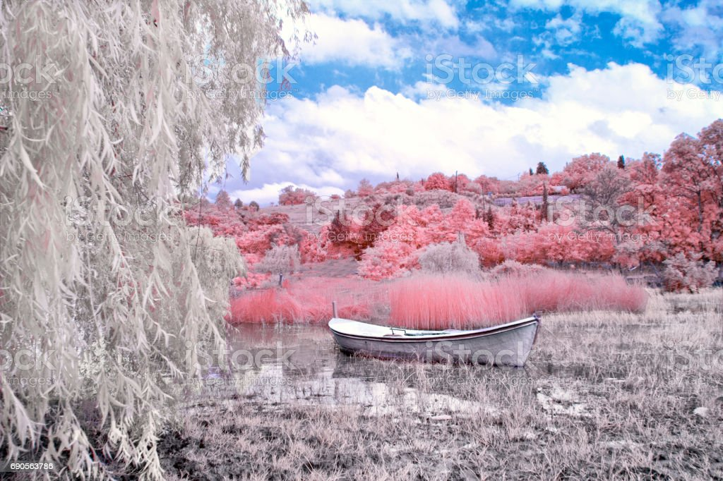 Infrared photo. Streets and area in the Turkey city stock photo