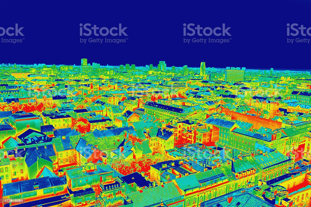 Infrared picture of Zagreb during night stock photo