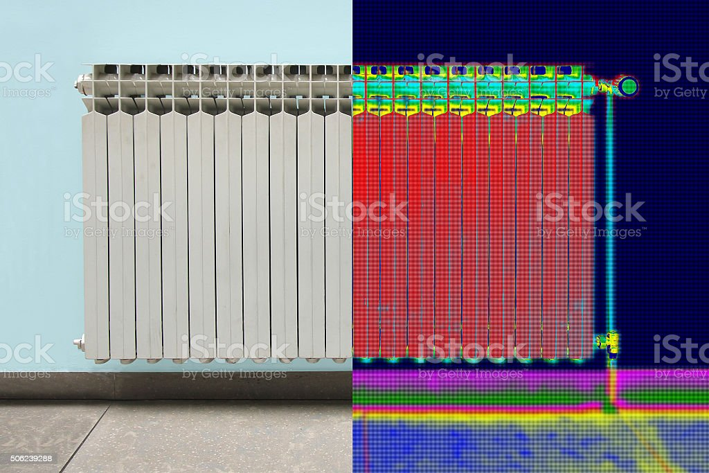 Infrared Thermal and real Image of Radiator Heater in house stock photo
