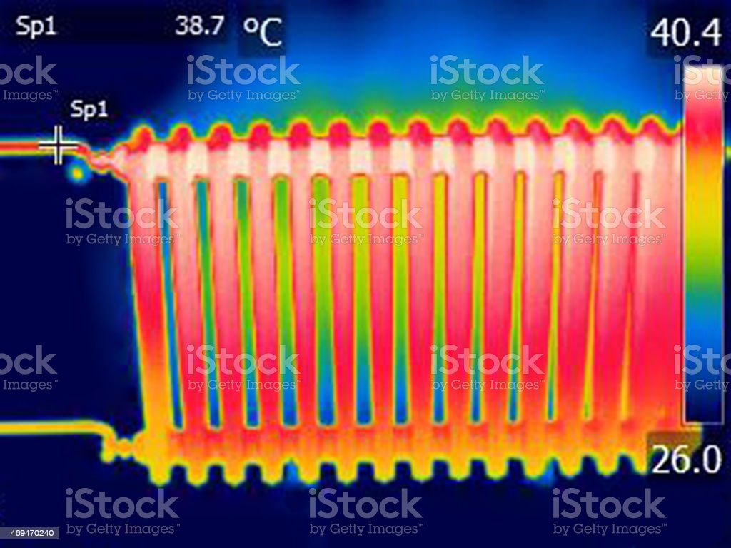 infrared thermal image of a heated radiator stock photo