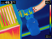 Infrared thermal image of home radiator valve