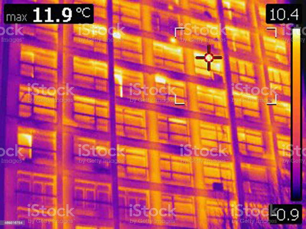 infrared thermal photo of building facade with windows stock photo