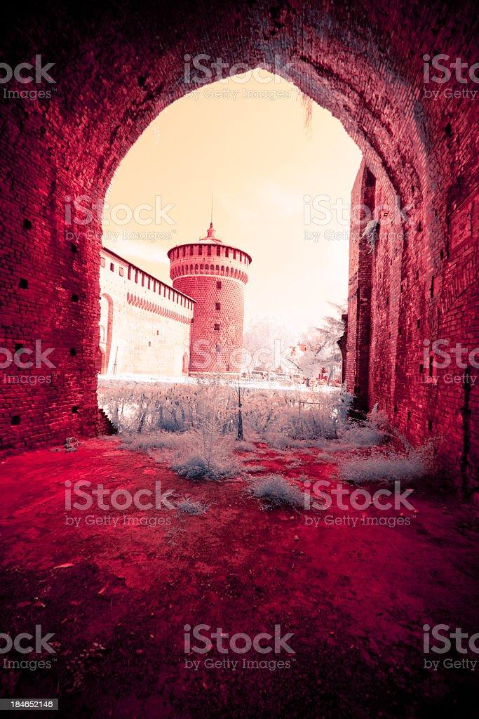 infrared view of the castello sforzesco stock photo