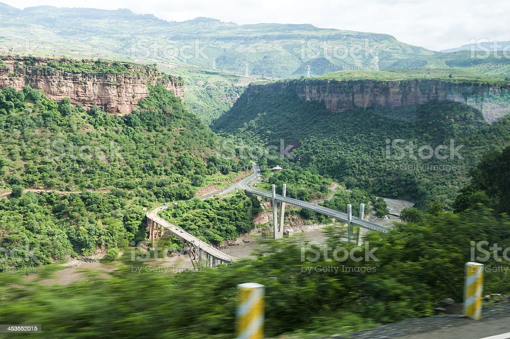 Infrastructure in Ethiopia on Blue Nile River stock photo