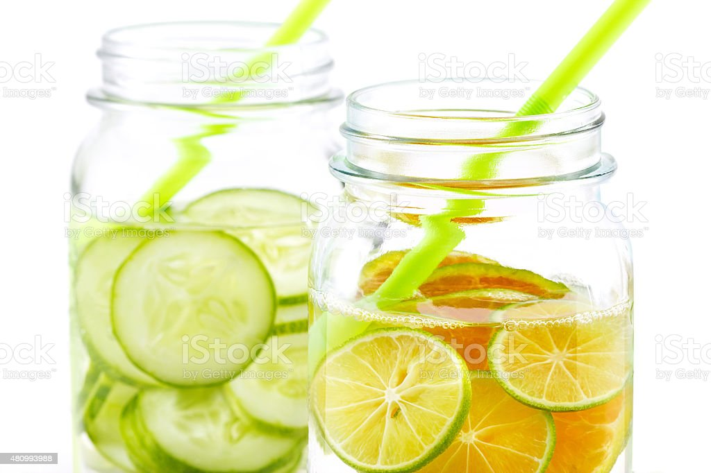 Infused detox water, bright and colorful tone, Detox diet lemon stock photo