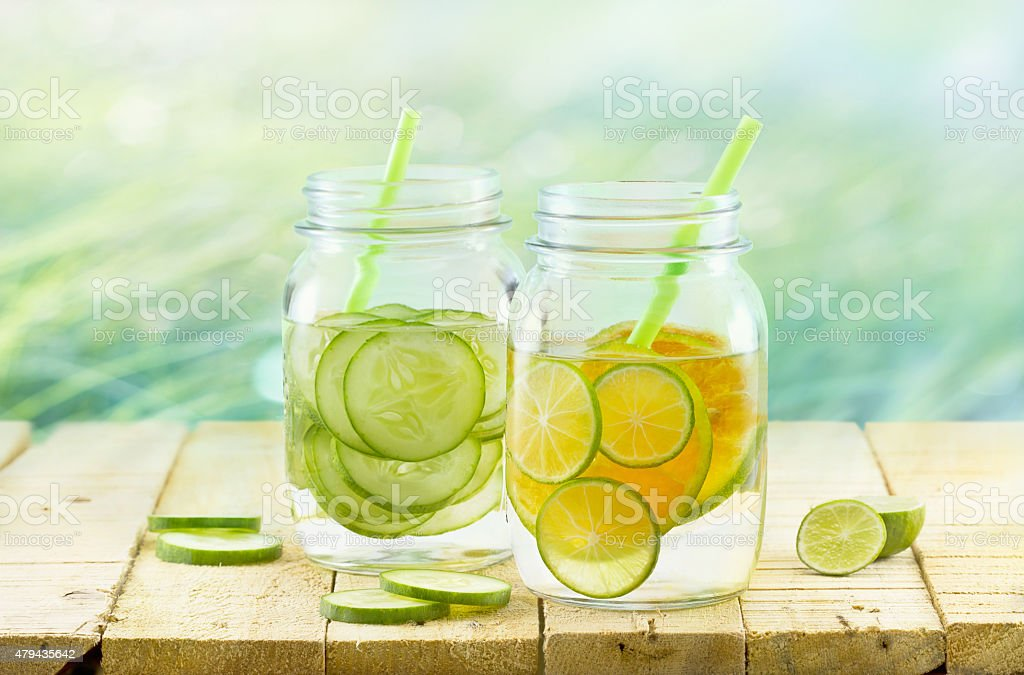 Infused detox water, Vintage and pastel color tone, Detox diet stock photo