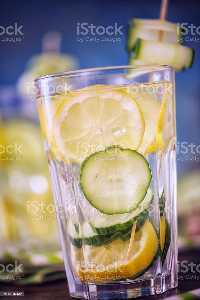 Infused Water with Fresh Cucumber and Lemon stock photo