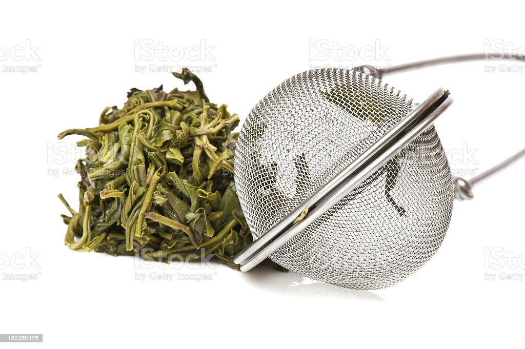 Infuser and Tea Leaves stock photo