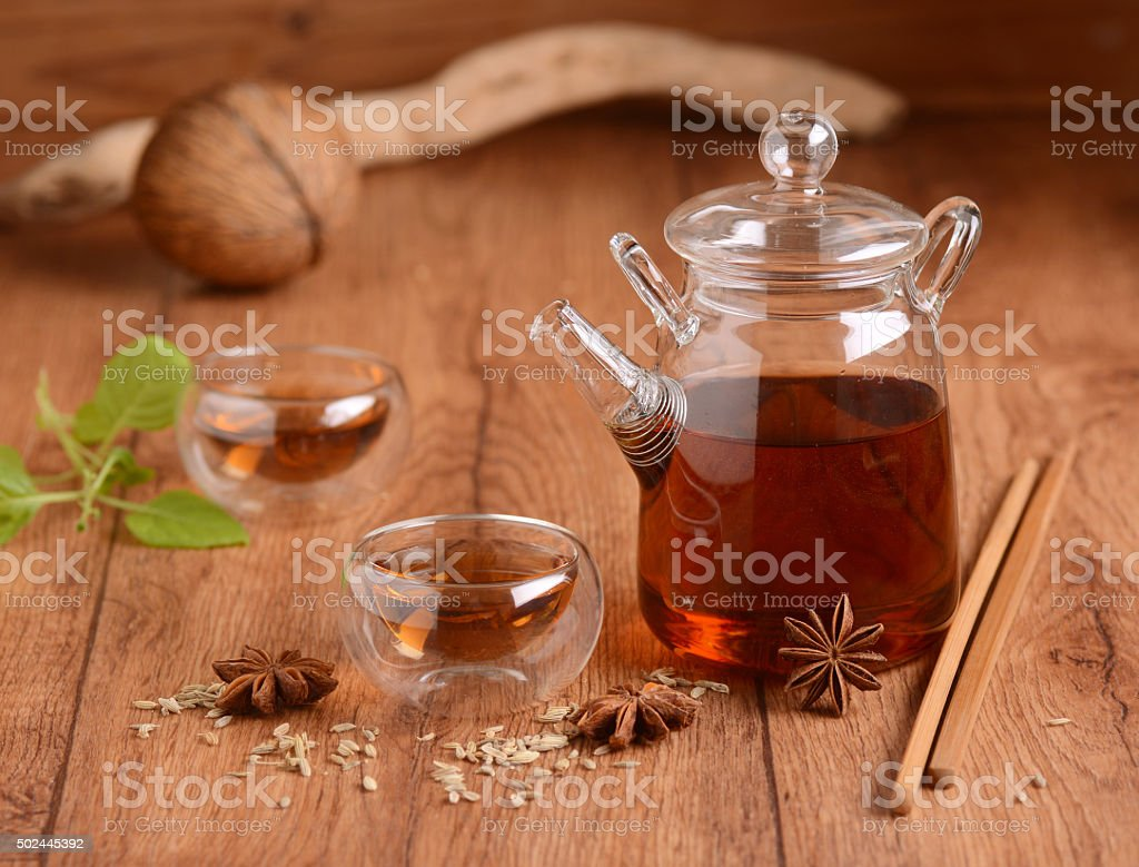 infusion of fennel seeds stock photo