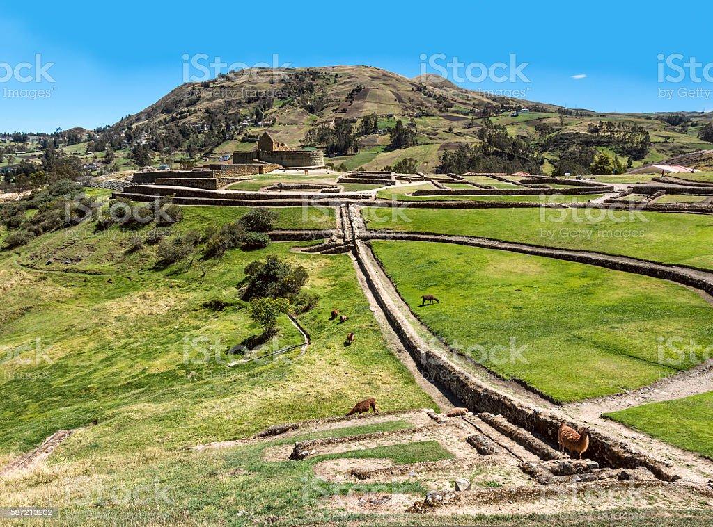 Ingapirca, Inca wall and town, Ecuador stock photo