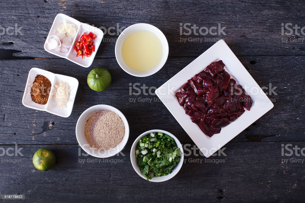 Ingredient for cooked Liver in Spicy Condiment. stock photo