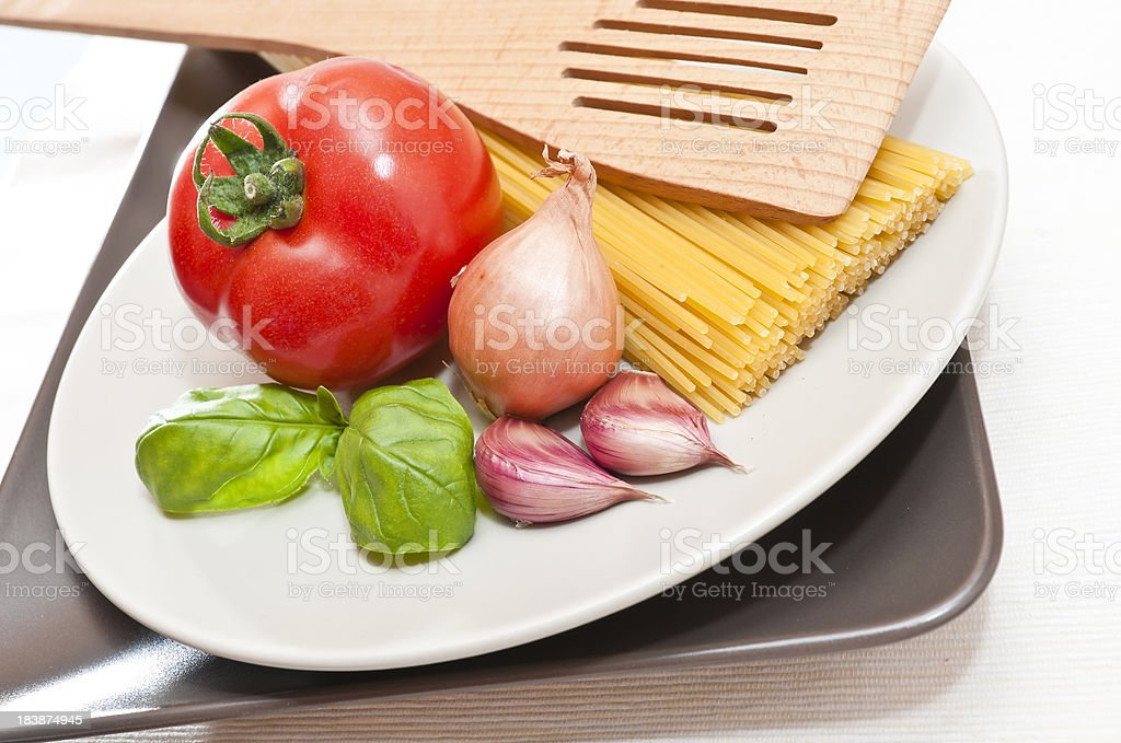 ingredient for italian pasta with tomato sauce royalty-free stock photo