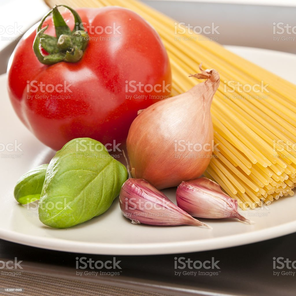 ingredient for italian pasta with tomato sauce royalty-free stock photo