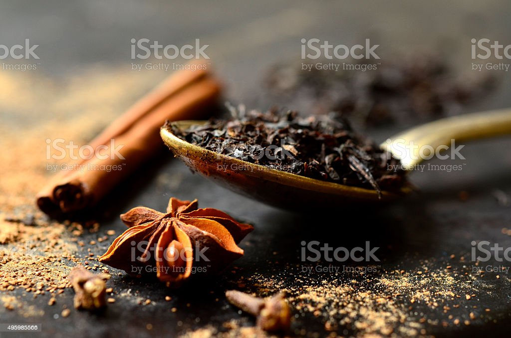 Ingredient for making tea masala. stock photo