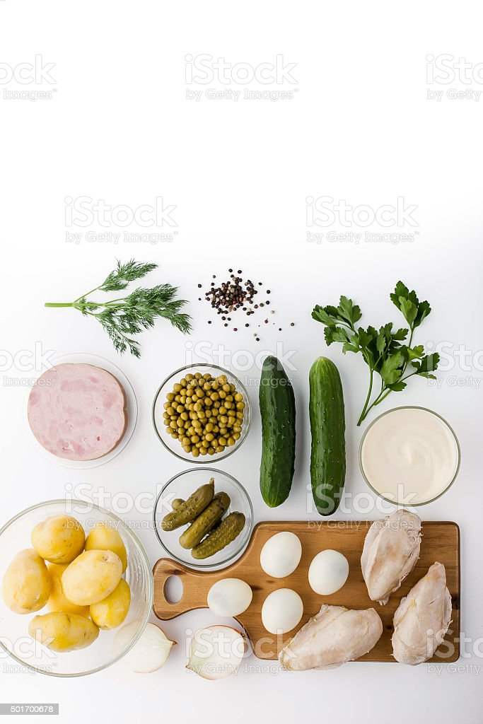 Ingredient for Olivier salad in the white background stock photo