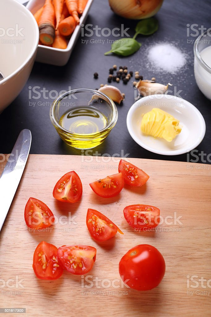 ingredient for tomatoes soup stock photo