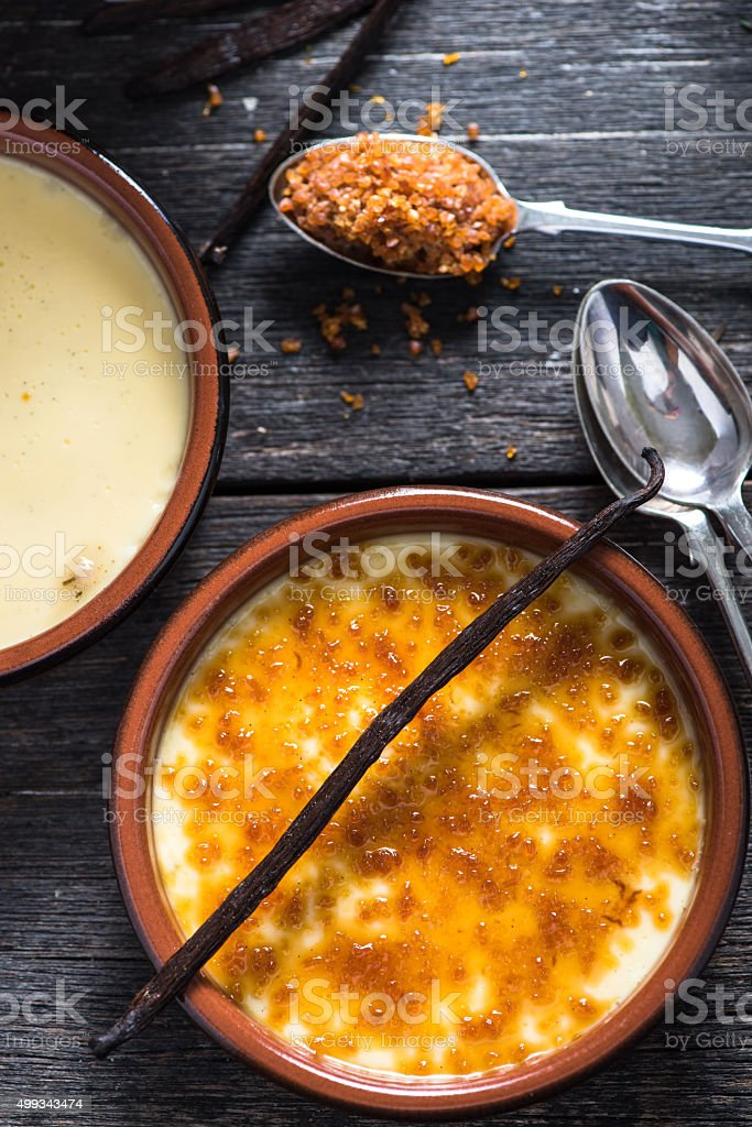 Ingredient for traditional creme brulee stock photo