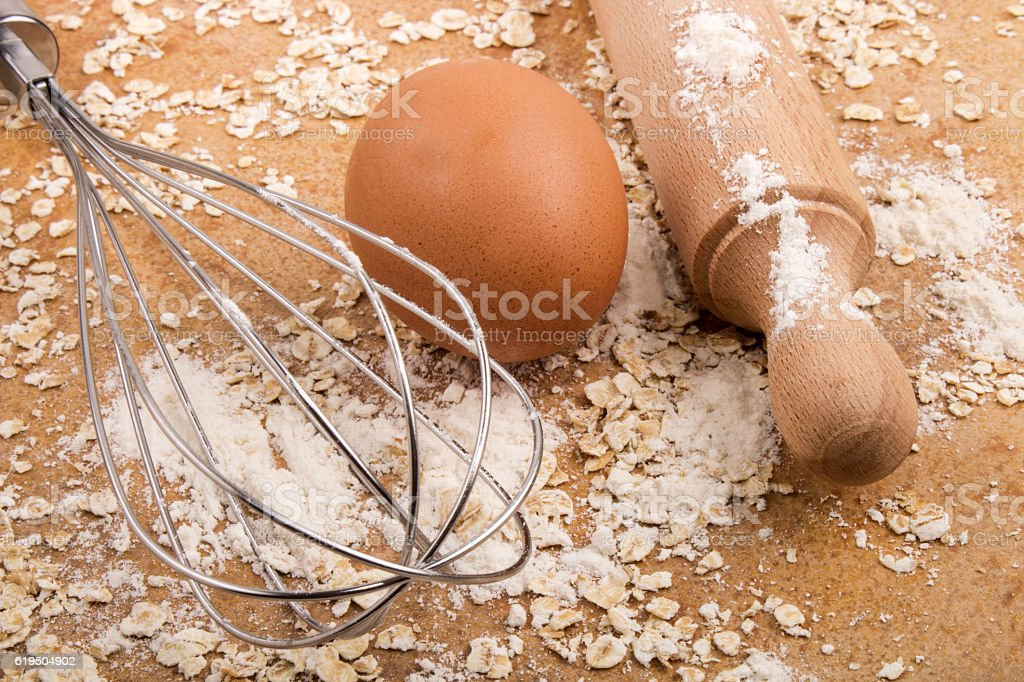 ingredients and accessories to bake scottish oatmeal biscuits stock photo