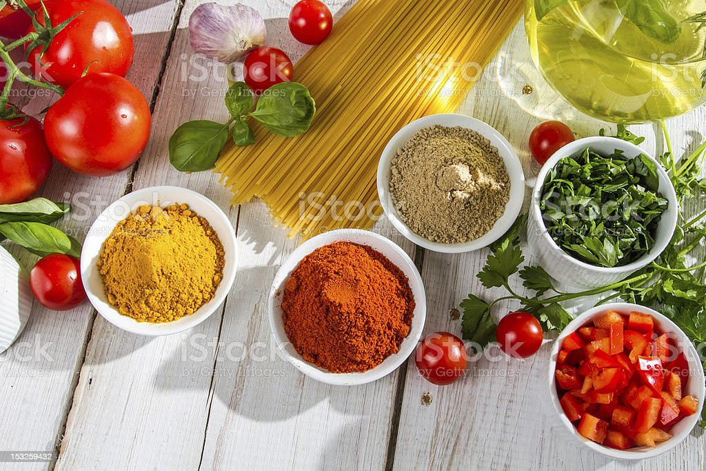 Ingredients and italian cuisine spices royalty-free stock photo