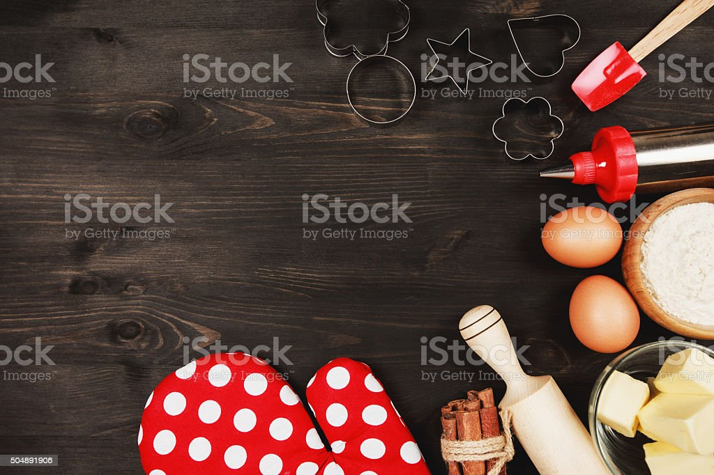 Ingredients and kitchen utensils for cooking stock photo