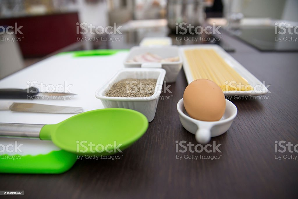 ingredients and utensils for cooking Italian royalty-free stock photo